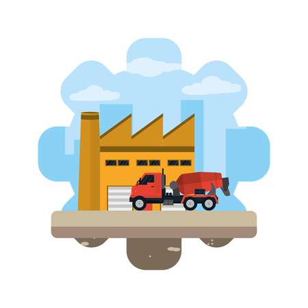 mixer truck equipment construction industry vector illustration