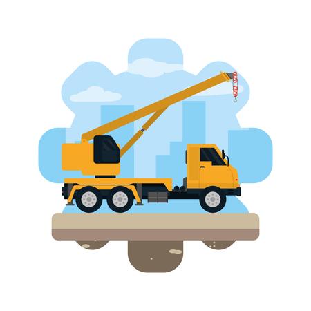 truck pulleys equipment construction industry vector illustration