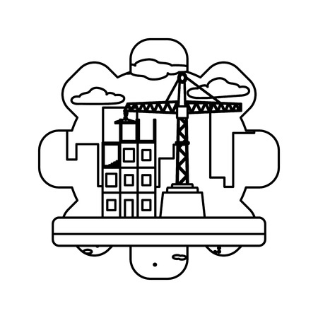line building rapair pulleys construction machine vector illustration