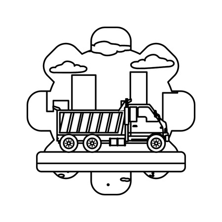 line truck equipment construction industry service vector illustration