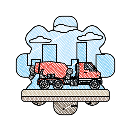 doodle mixer truck equipment construction industry vector illustration Vectores