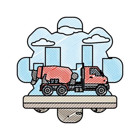 doodle mixer truck equipment construction industry vector illustration Illustration