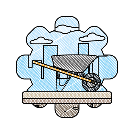 doodle wheelbarrow equipment construction industry service vector illustration