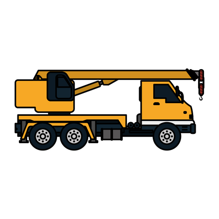 color truck pulleys construction equipment service vector illustration Illustration