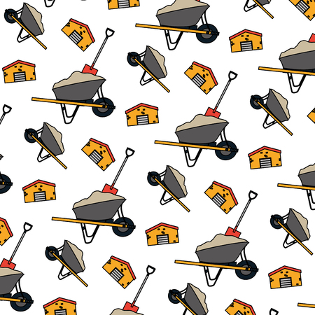 color wheelbarrow cement with shovel and building background vector illustration Иллюстрация