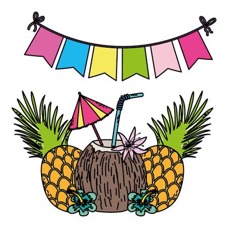 color pineapples and tropical coconut fresh beverage vector illustration Ilustração