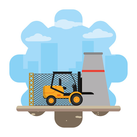 industry factory and forklift construction machine vector illustration Standard-Bild - 111973702