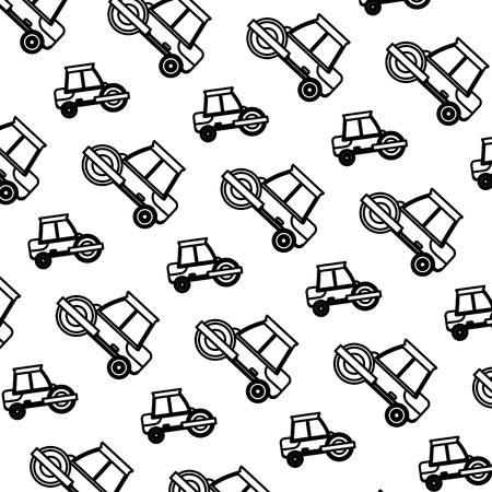 line road roller mechanic equipment background vector illustration