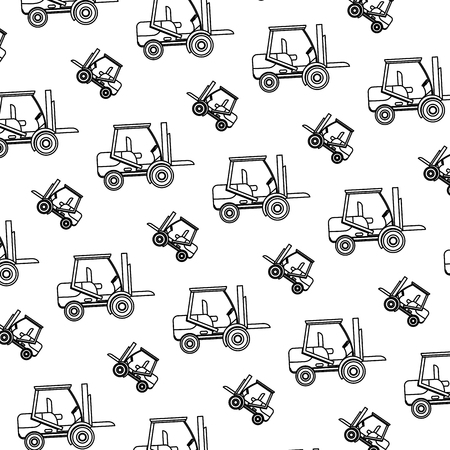 line forklift mecanic equipment repair background vector illustration