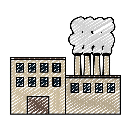 doodle industry factory process plant pollution vector illustration Illustration