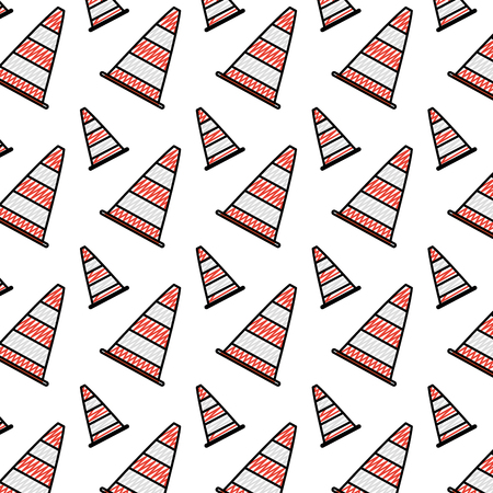 doodle traffic cone warning attention background vector illustration