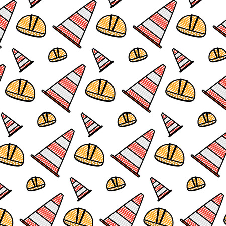 doodle helmet object and traffic cone background vector illustration