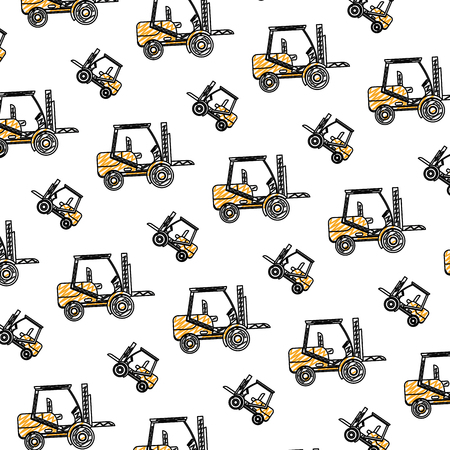 doodle forklift mecanic equipment repair background vector illustration Illustration