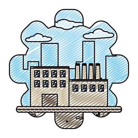 doodle factory machine production engineer plant vector illustration Ilustrace