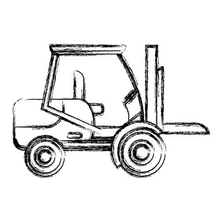 illustrazione di vettore di servizio di riparazione dell'attrezzatura del meccanico del carrello elevatore del grunge