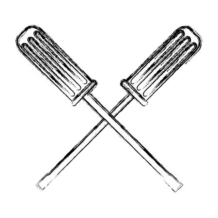 grunge screwdrivers mechanic equipment repair service vector illustration Illustration