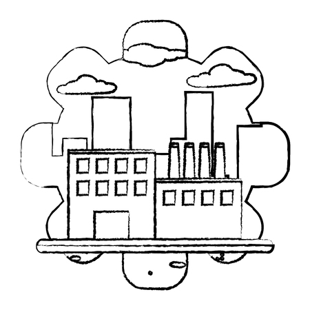 grunge factory machine production engineer plant vector illustration Standard-Bild - 111974807