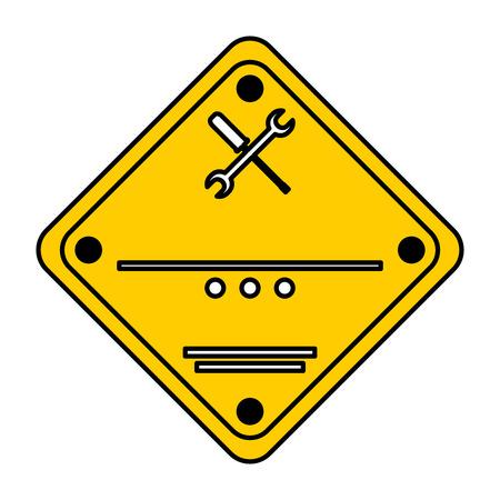 color caution construction service emblem notice vector illustration