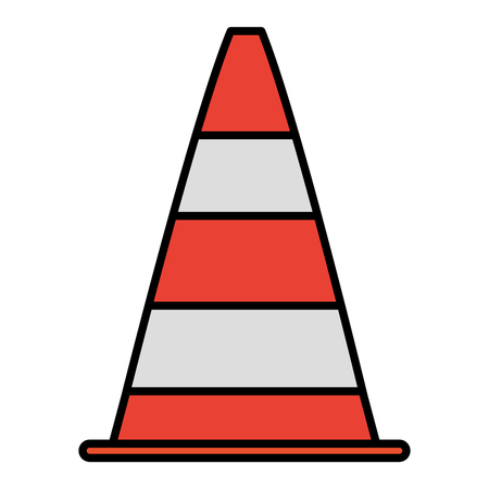 color traffic cone warning attention sign vector illustration