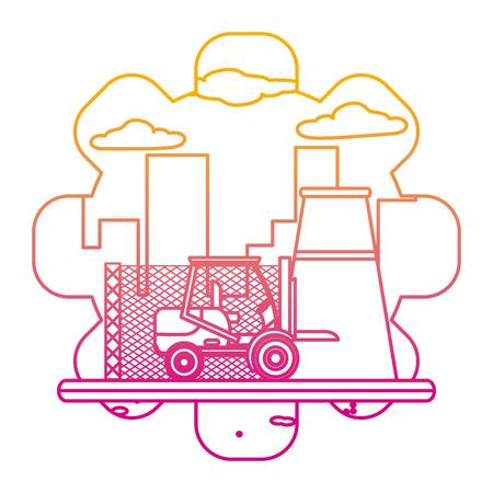 Usine de l'industrie de la ligne dégradée et illustration vectorielle de chariot élévateur construction machine