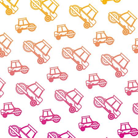 degraded line road roller mechanic equipment background vector illustration