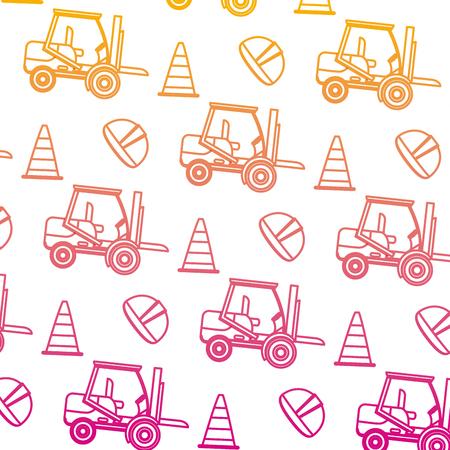 degraded line forklift with traffic cone and helmet background vector illustration Illustration
