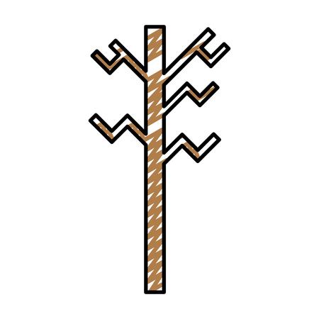 doodle exotic wood nature stalk branch vector illustration