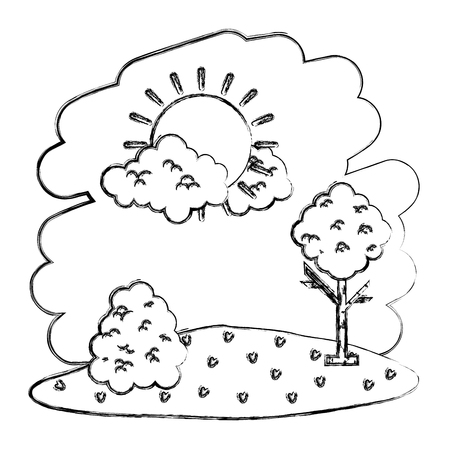 grunge nature sun with clouds and tree landscape vector illustration