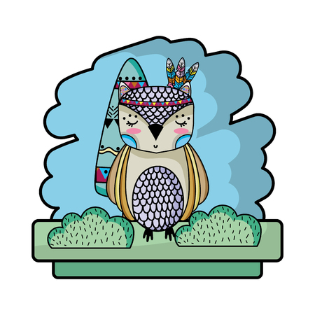 tribal owl animal with feathers style vector illustration