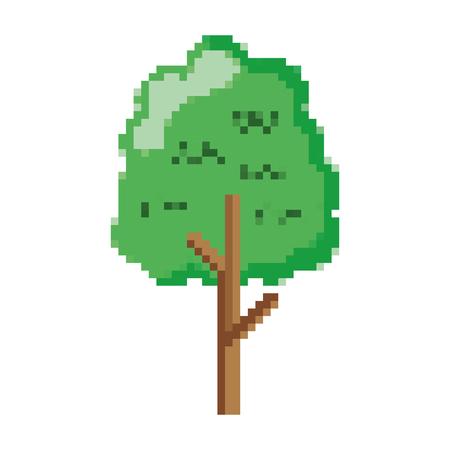Hojas de árbol de naturaleza pixelada con ilustración de vector de estilo de tallo
