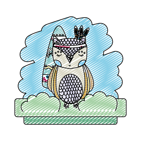 doodle tribal owl animal with feathers style vector illustration Ilustração