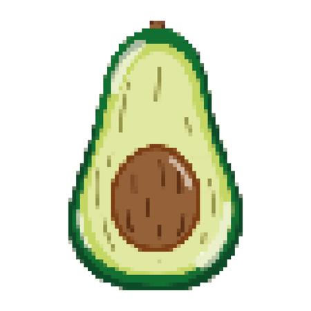 Ilustración de vector de nutrición de fruta fresca de aguacate delicioso pixelado
