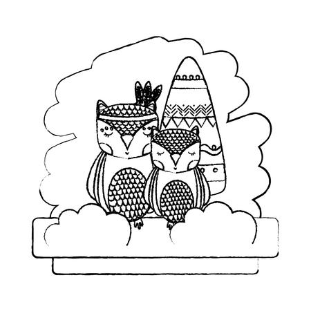 grunge tribal couple owl animal with feathers vector illustration Ilustração