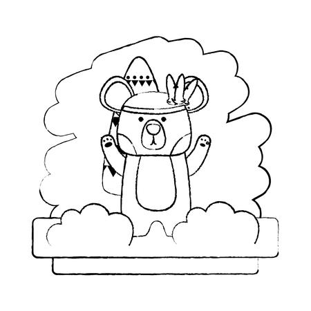 grunge tribal bear animal with feathers style vector illustration Illustration