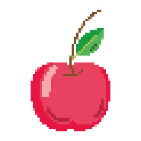 pixelated delicious apple fresh fruit nutrition vector illustration