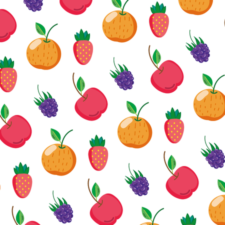 delicious fresh fruits nutrition background vector illustration