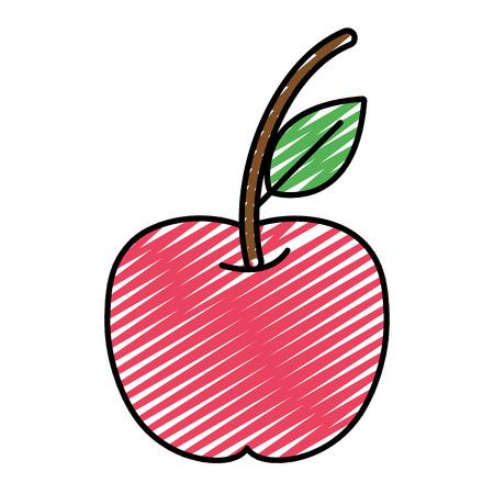 doodle delicious apple fresh fruit nutrition vector illustration