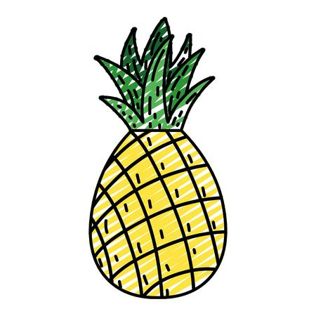 doodle delicious pineapple fresh fruit nutrition vector illustration