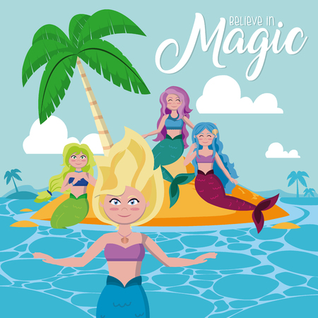 Bealieve in magic with beautiful mermaids on island at sunny day cute cartoons vector illustration graphic design