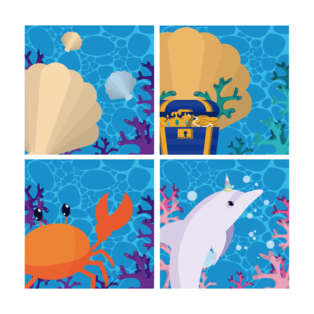 Set of sea cartoons cards collection vector illustration graphic design Vettoriali