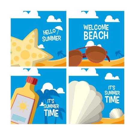 Set of summer cards with cartoons vector illustration graphic design Vektoros illusztráció