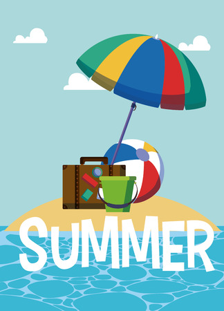 Summer elements on cute island cartoons vector illustration graphic design