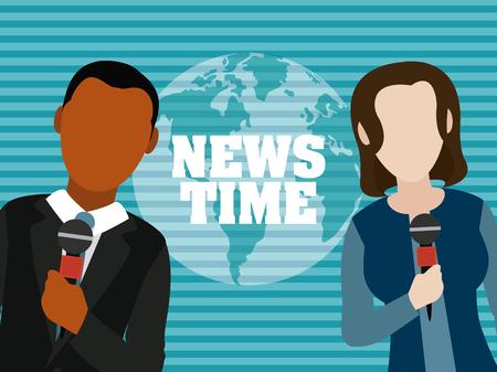 Tempo di notizie intorno al mondo e progettazione grafica dell'illustrazione di vettore del fumetto dell'avatar di lavoro di squadra dei giornalisti