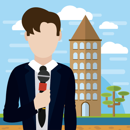 Male journalist reporter Illustration