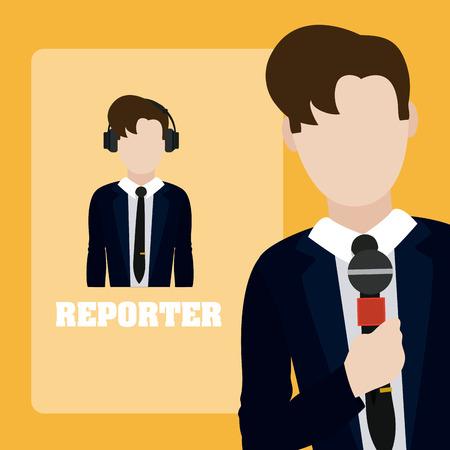 Reportero periodista masculino con diseño gráfico de ilustración de vector de micrófono