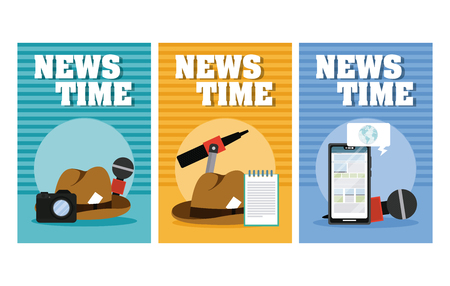 Set of News time cards with elements and technology collection vector illustration graphic design