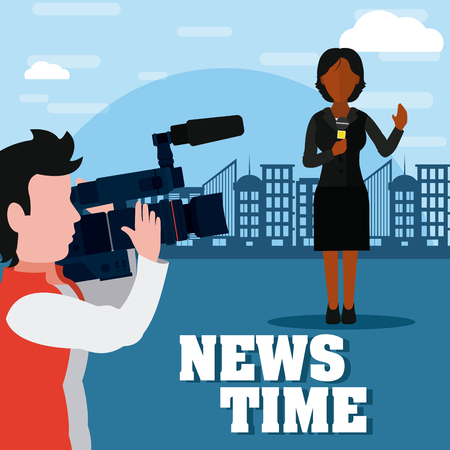 News reporter transmitting live with cameraman at city vector illustration graphic design