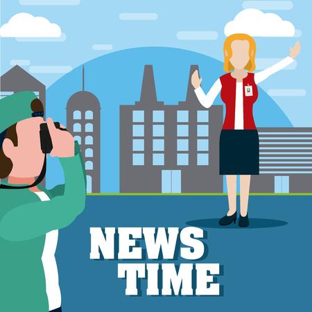 News reporter transmitting live with cameraman at city vector illustration graphic design Vektorové ilustrace