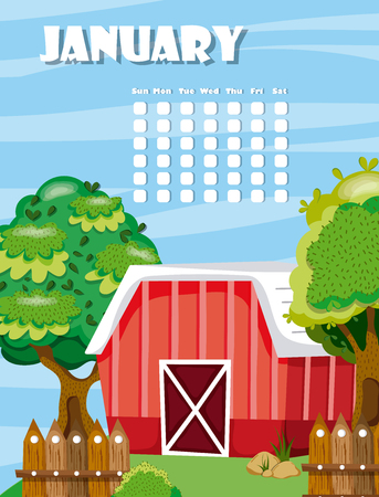 January calendar with cute farm and nature cartoons vector illustration graphic design