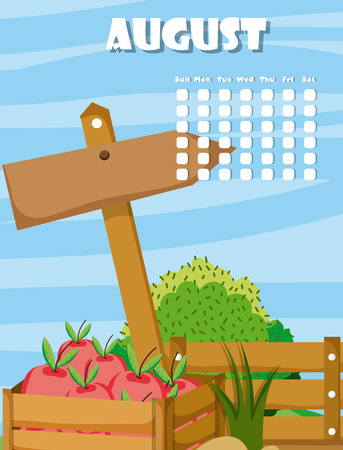 August calendar with cute farm and nature cartoons vector illustration graphic design Illustration